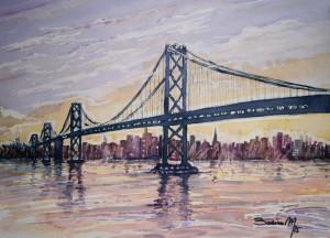 Título: Puente de San Francisco. Acuarela sobre papel SAUNDERS. 36 x 26,5 cm. Año 2015. (disponible). Autor: Paco Baena.