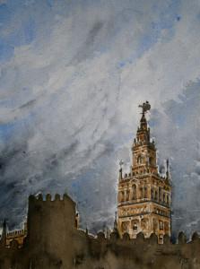 Título: Se asoma la noche. Acuarela sobre papel SAUNDERS. 26 x 35,5 cm. Año 2015. (disponible). Autor: Paco Baena.