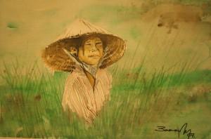 Campo de arroz 28x18 cm 2007